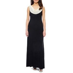 Jackie Jon Sleeveless Cowlneck Evening Gown